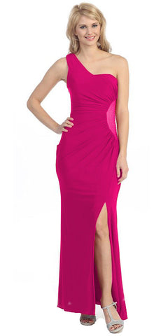 One Shoulder Long Side Gathered Fuchsia Column Prom Dress