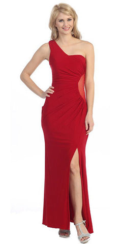 One Shoulder Long Side Gathered Red Column Prom Dress