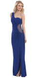 One Shoulder Long Side Gathered Royal Blue Column Prom Dress