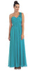 One Shoulder Ruched Jade Long A Line Semi Formal Gown
