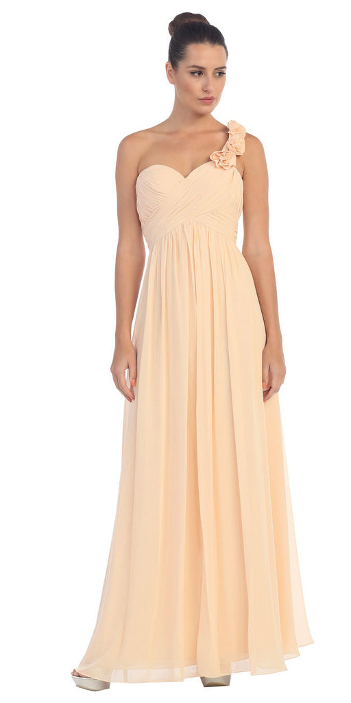 One Shoulder Ruched Peach Long A Line Semi Formal Gown