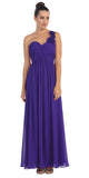 One Shoulder Ruched Purple Long A Line Semi Formal Gown