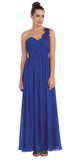One Shoulder Ruched Royal Blue Long A Line Semi Formal Gown