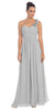 One Shoulder Ruched Silver Long A Line Semi Formal Gown