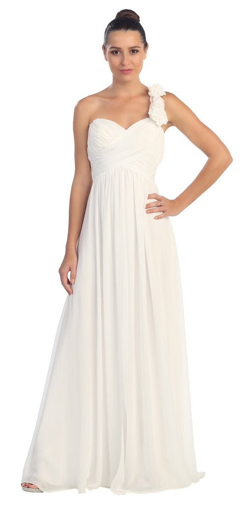 One Shoulder Ruched White Long A Line Semi Formal Gown