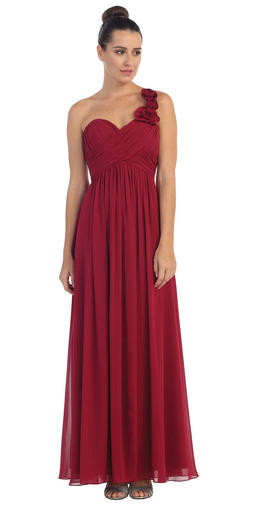One Shoulder Ruched Burgundy Long A Line Semi Formal Gown