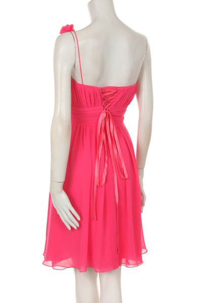One Shoulder Ruched Bodice Fuchsia Chiffon Bridesmaid Dress