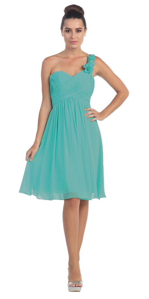 One Shoulder Ruched Bodice Jade Chiffon Bridesmaid Dress