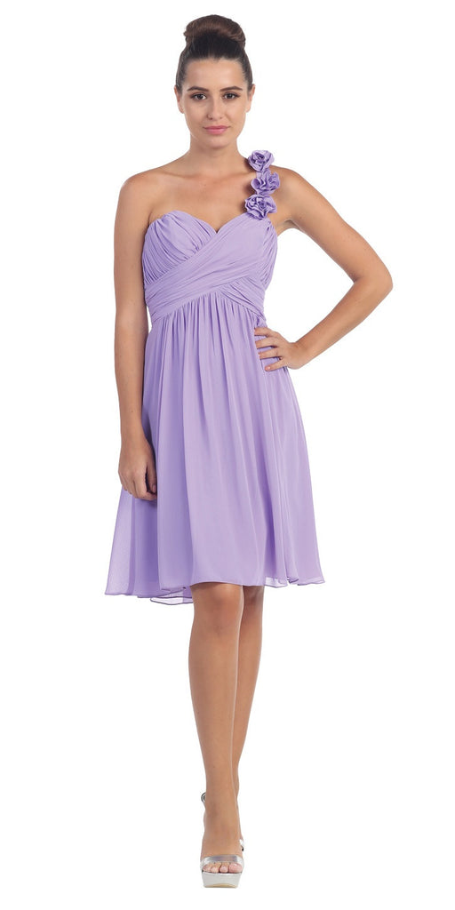 One Shoulder Ruched Bodice Lilac Chiffon Bridesmaid Dress