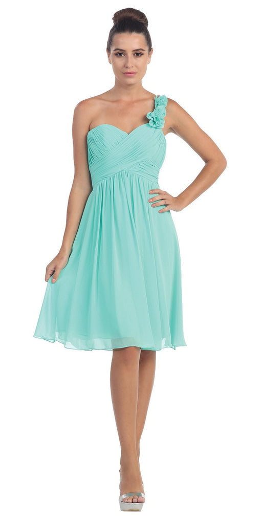 One Shoulder Ruched Bodice Mint Chiffon Bridesmaid Dress