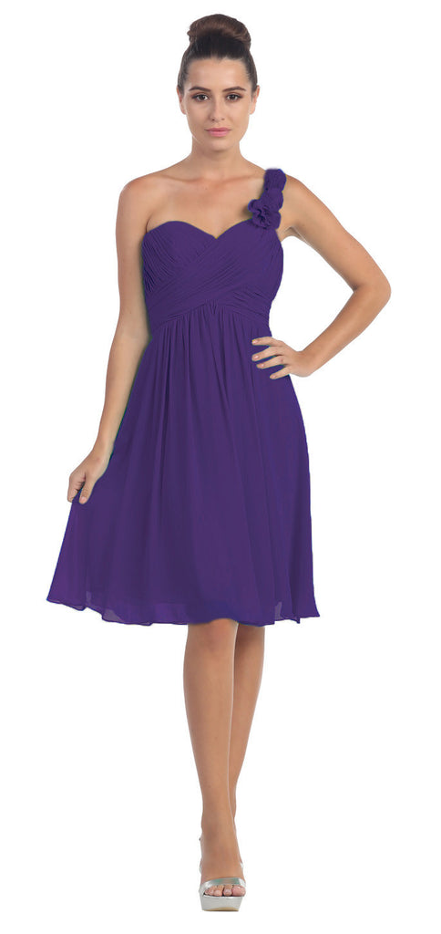 One Shoulder Ruched Bodice Purple Chiffon Bridesmaid Dress