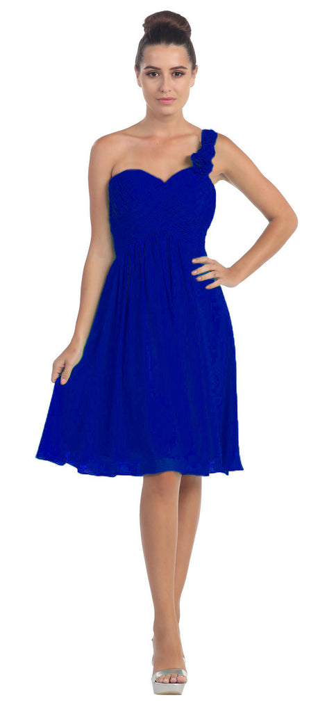 One Shoulder Ruched Bodice Royal Blue Chiffon Bridesmaid Dress