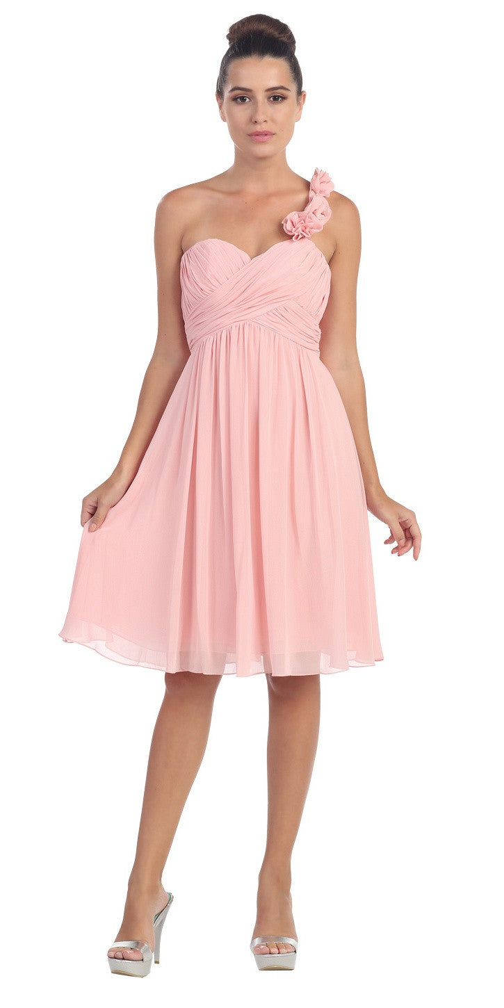 One Shoulder Ruched Bodice Blush Chiffon Bridesmaid Dress
