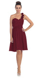 One Shoulder Ruched Bodice Burgundy Chiffon Bridesmaid Dress