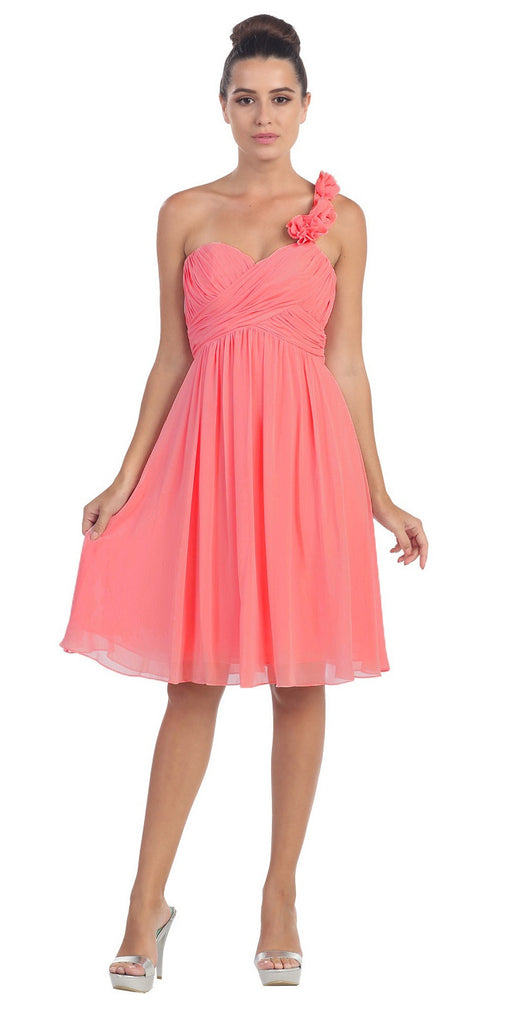 One Shoulder Ruched Bodice Coral Chiffon Bridesmaid Dress