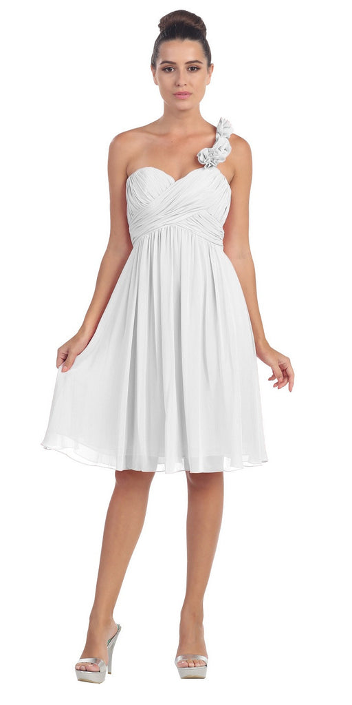 One Shoulder Ruched Bodice Off White Chiffon Bridesmaid Dress