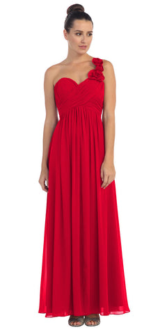 One Shoulder Ruched Red Long A Line Semi Formal Gown