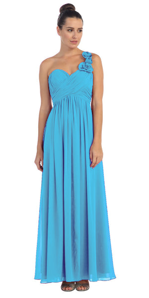 One Shoulder Ruched Turquoise Long A Line Semi Formal Gown