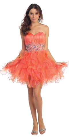 CLEARANCE - Short Cute Orange Knee Length Strapless Dress (Size 2XL)