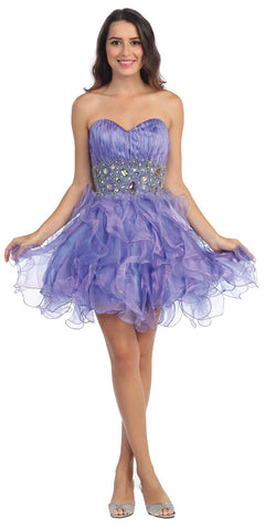 Organza Short Skirt Pleated Bodice Lavender Prom Dress