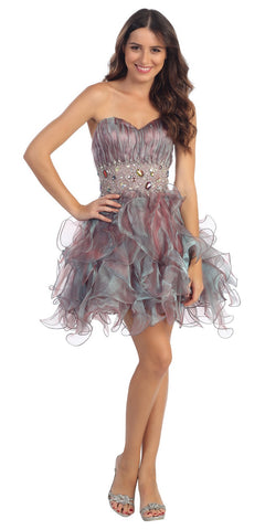 Organza Short Skirt Pleated Bodice Teal Prom Dress
