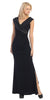 Overlapping V Neck Long Thigh Slit Black Column Gown