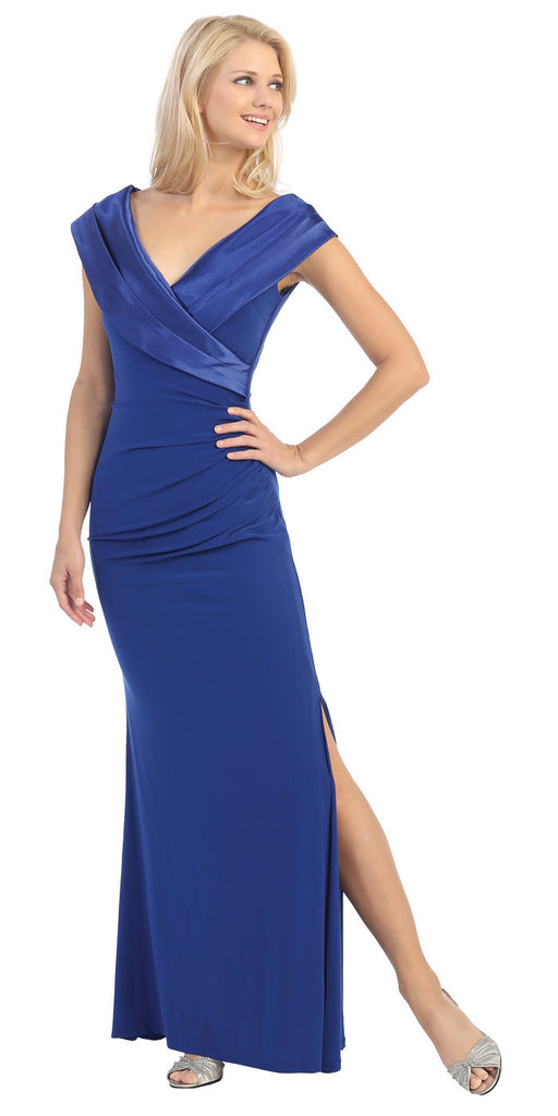 Overlapping V Neck Long Thigh Slit Royal Blue Column Gown
