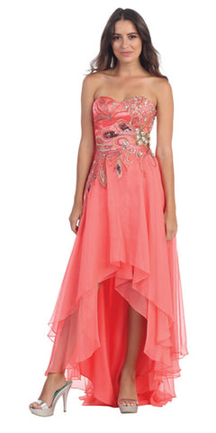 Peacock Design High Low Coral Dress Chiffon Strapless Beading