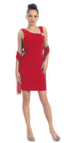 Pleated Natural Waist Sleeveless Short Red Sheath Dress