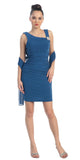 Pleated Natural Waist Sleeveless Short Teal Sheath Dress