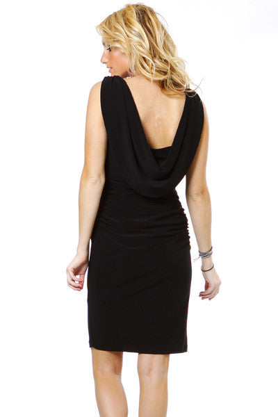 Pleated Natural Waist Sleeveless Short Black Sheath Dress