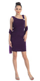 Pleated Natural Waist Sleeveless Short Plum Sheath Dress