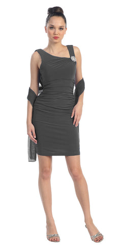 Pleated Natural Waist Sleeveless Short Charcoal Sheath Dress