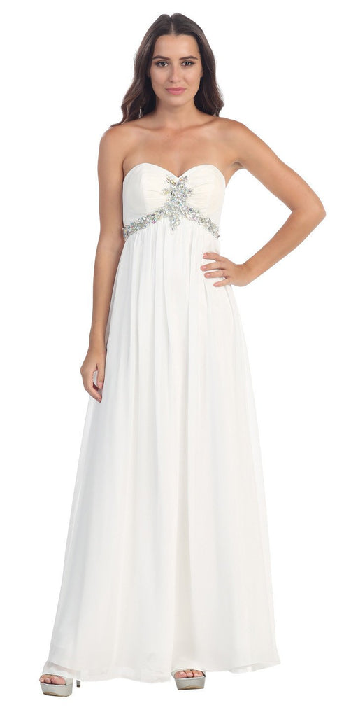Starbox USA 547 Pleated Strapless Studded Long White A Line Prom Gown