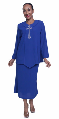 Plus Size Royal Blue Church Choir 4 Piece Dress Set Skirt Jacket Top