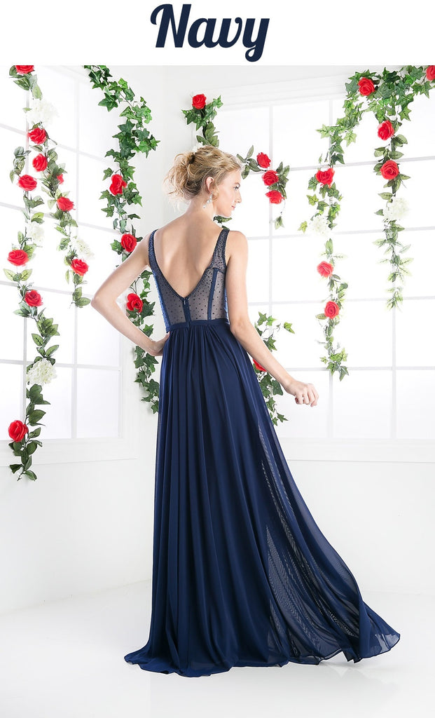 Plus Size Sheer Beaded Strap Flowy Evening Dress Navy Blue