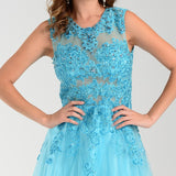 ON SPECIAL LIMITED STOCK - Poly USA 7324 Poofy A Line Prom Dress Sky Blue Long Lace Applique