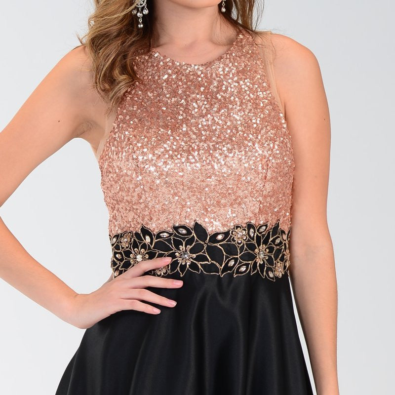 2aceda04c43 ... ON SPECIAL LIMITED STOCK - Poly USA 7330 Black Gold Sequin Top Prom  Dress Long Satin