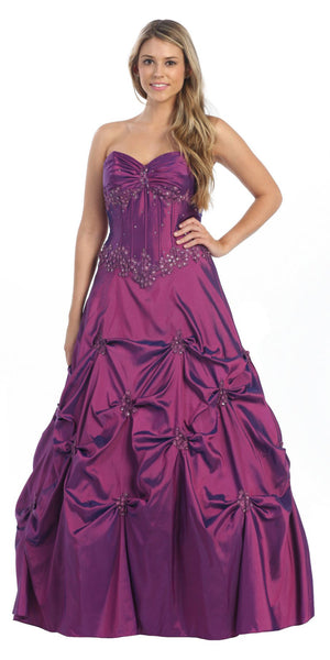 ON SPECIAL - LIMITED STOCK - Poofy Prom Dress Purple Quinceanera Gown Strapless Sweetheart Sequin