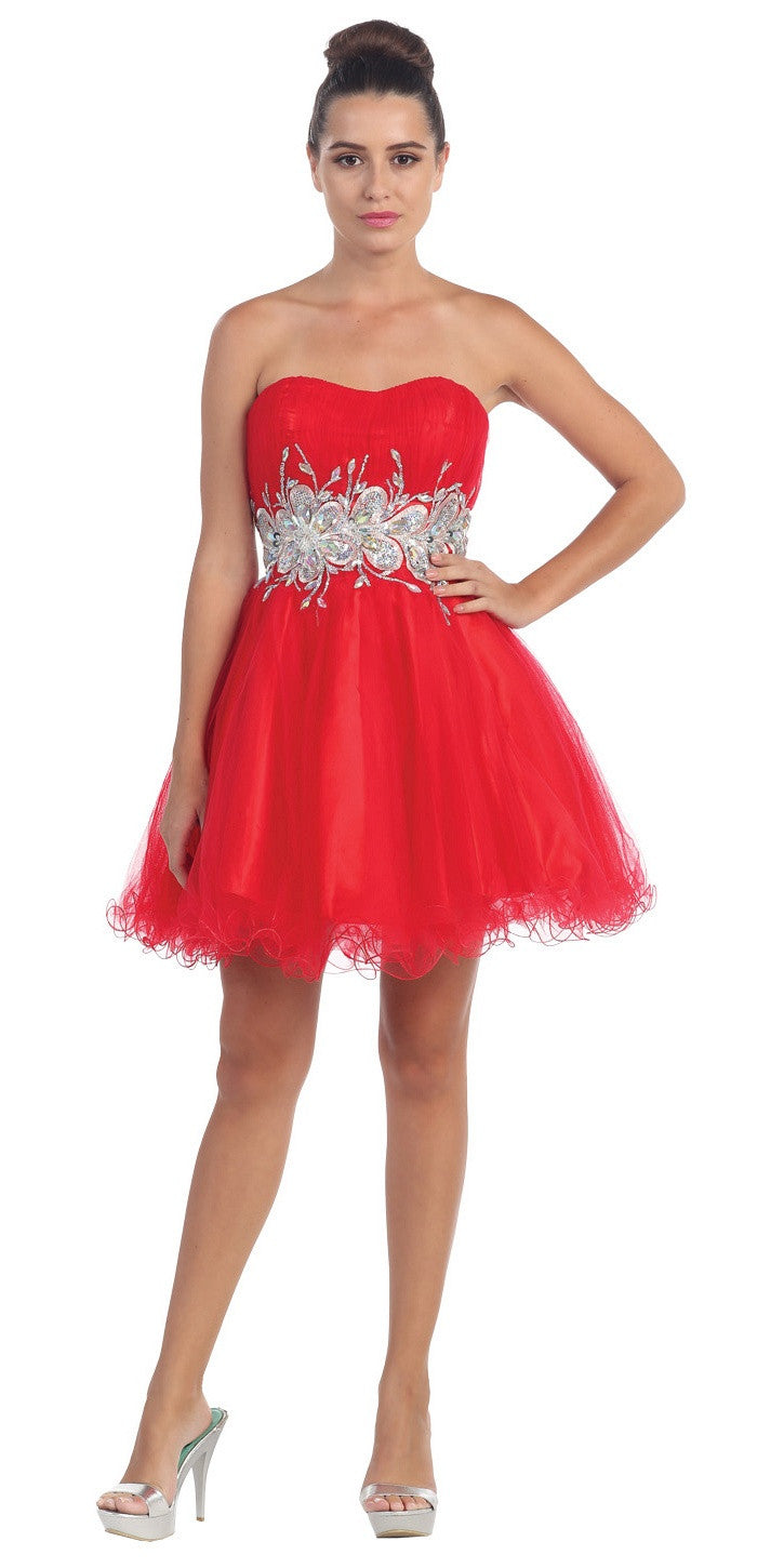 Poofy Short Homecoming Dress Red Strapless A Line Sequins