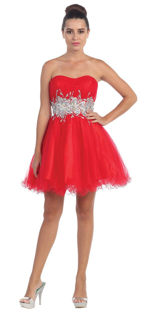Starbox USA 6057 Poofy Short Homecoming Dress Red Strapless A Line Sequins