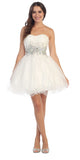 Starbox USA 6057 Poofy Short Homecoming Dress Off White Strapless A Line Sequins