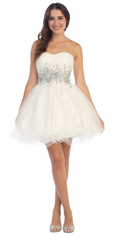 Starbox USA 6057 Poofy Short Homecoming Dress White Strapless A Line Sequins