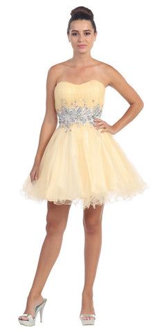 Poofy Short Homecoming Dress Champagne Strapless A Line Sequins