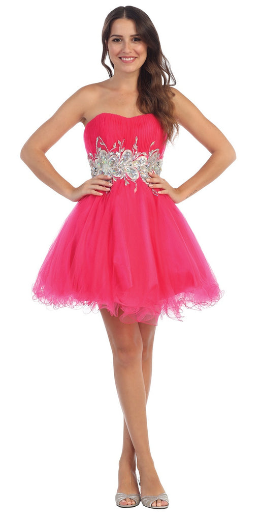 Starbox USA 6057 Poofy Short Homecoming Dress Fuchsia Strapless A Line Sequins