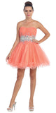 Starbox USA 6057 Poofy Short Homecoming Dress Coral Strapless A Line Sequins