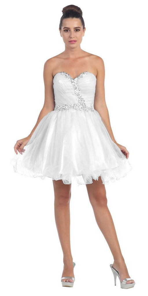 Starbox USA 6059 Poofy Short Homecoming Dress Off White Tulle Strapless Rhinestones