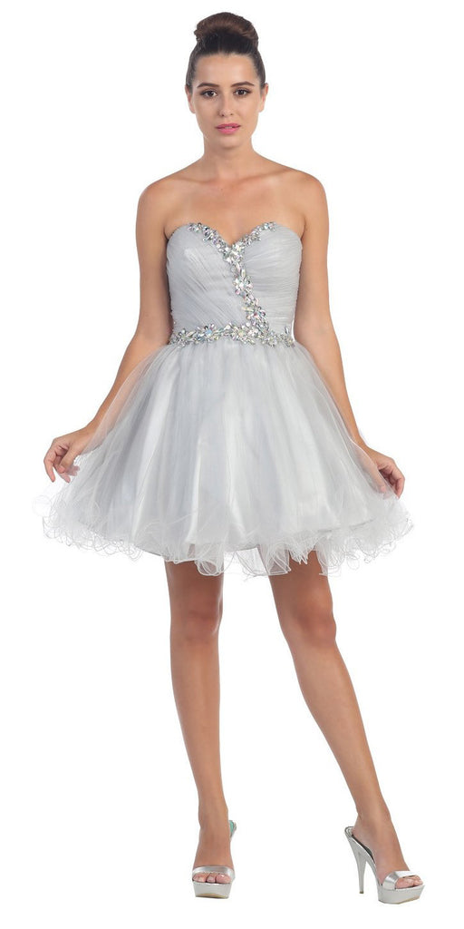 Starbox USA 6059 Poofy Short Homecoming Dress Silver Tulle Strapless Rhinestones