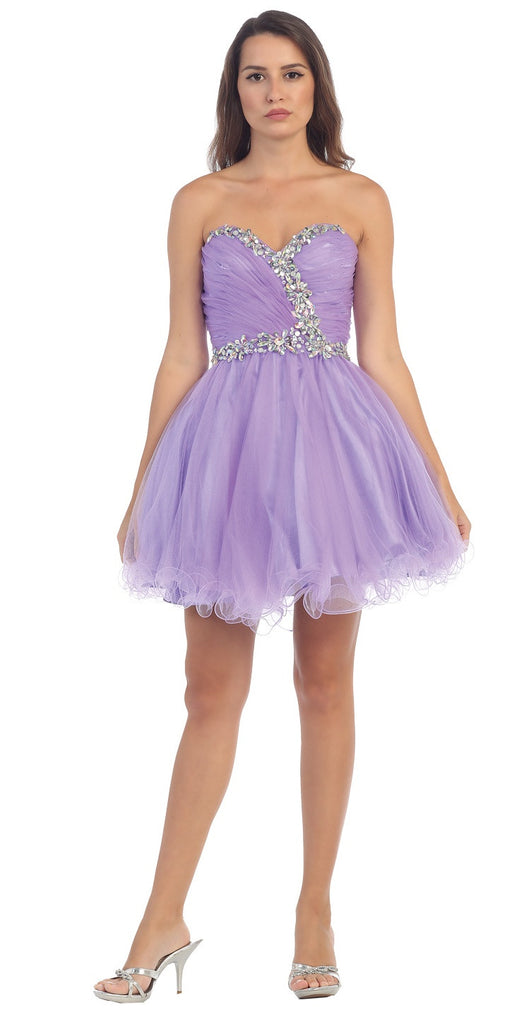 Starbox USA 6059 Poofy Short Homecoming Dress Lavender Tulle Strapless Rhinestones