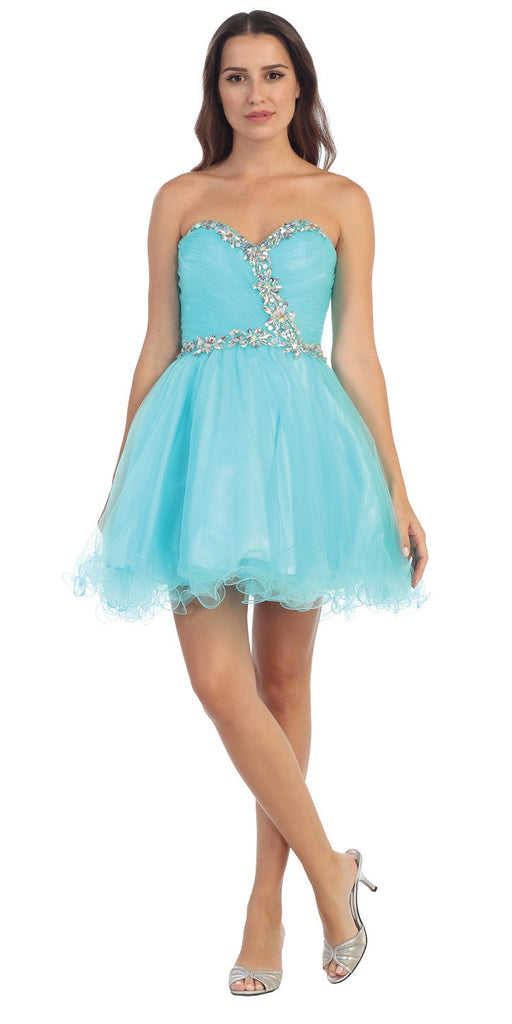 Starbox USA 6059 Poofy Short Homecoming Dress Mint Tulle Strapless Rhinestones